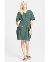 Marc Jacobs Short Sleeve Pleated Gabardine Dress - Lyst