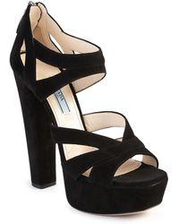 Prada | Suede Platform Sandals | Lyst