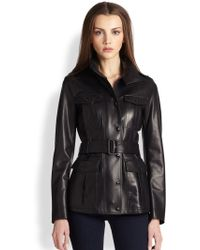 Burberry Leather Field Jacket - Lyst