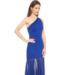Halston Heritage One Shoulder Gown Bright Indigo - Lyst