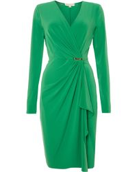 Michael Kors Cross Over Wrap Dress with Pin Detail - Lyst