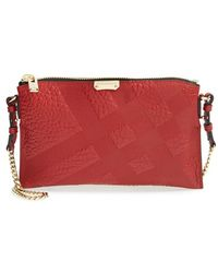 Burberry Women'S 'Peyton - Grain Check' Crossbody Bag - Red - Lyst