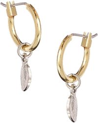 Asos Mini Leaf Hoop Earrings - Lyst