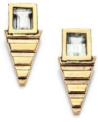 Aesa - Green Amethyst Lunar Pool Stud Earrings - Lyst