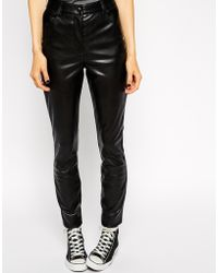 Asos Skinny Trousers In Leather Look - Lyst