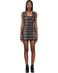 Christopher Kane Grey and Black Banded Snake Dress - Lyst