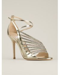 Jimmy Choo Gold Florry Sandals - Lyst