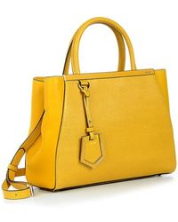 Fendi Yellow Leather €˜2Jours' Small Tote Bag - Lyst