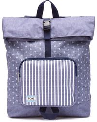 TOMS - Chambray Diamond Stripe Printed Standup Backpack - Lyst