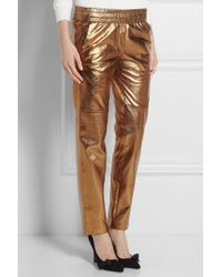 Isabel Marant Becka Metallic Leather Tapered Pants - Lyst
