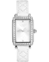 Lipsy White Quilted Strap Watch with Silver Tone Dial - Lyst