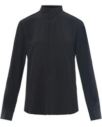 Saint Laurent New Wave Grandad Collar Silk Shirt - Lyst