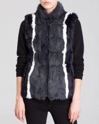 Jocelyn Reversible Striped Rabbit Fur & Knit Vest - Lyst