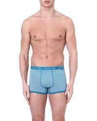Calvin Klein Patterned Stretchcotton Trunks Wattage Blue - Lyst