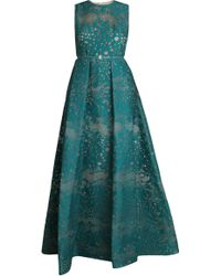 Elie Saab Embroidered Gown green - Lyst