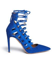 Aquazzura 'Amazon' Caged Suede Pumps blue - Lyst