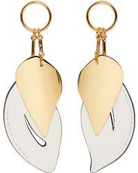 Marni - White And Gold Leaf Earrings - Lyst