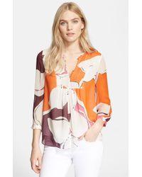 Diane von Furstenberg 'Camden' Floral Print Silk Top - Lyst