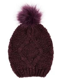Oasis Boucle Fur Pom Beanie Hat - Lyst