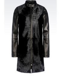 Emporio Armani Full Zip Coat In Pony Skin Effect Calfskin - Lyst