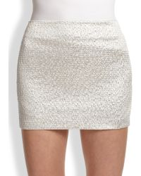 Alice + Olivia Elana Metallic Mini Skirt - Lyst