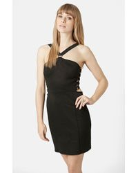 Topshop D-Ring Halter Body-Con Dress black - Lyst