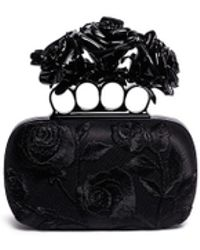 Alexander McQueen Rose Embroidery Knuckle Box Clutch black - Lyst