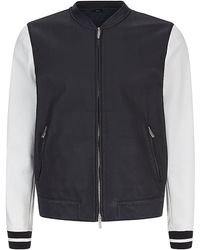 Fendi Contrast Sleeve Leather Varsity Jacket - Lyst
