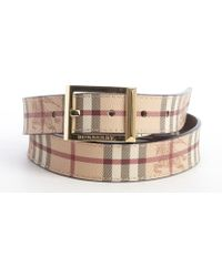 Burberry Brown Leather And Tan Plaid Coated Leather Reversible Belt - Lyst