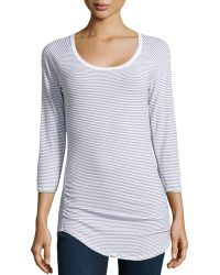 James Perse Longsleeve Striped Knit Tee White 4 - Lyst