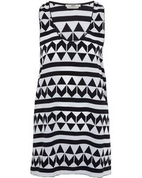 Edun Black and White Arrow Print Silk Vest Top - Lyst