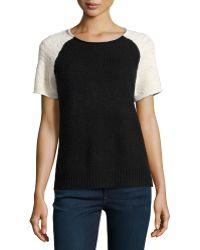 Halston Heritage Short-sleeve Colorblock Knit Sweater - Lyst