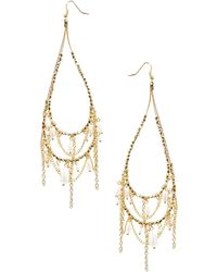 Asos Faux Pearl Chain Drop Earrings - Lyst