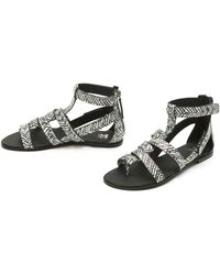 Joe's Jeans - Ranger Flat Sandals - Black/White - Lyst