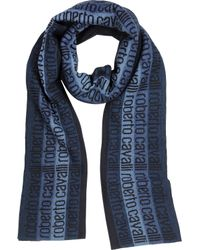 Roberto Cavalli   Color Block And Signature Print Wool Blend Scarf   Lyst