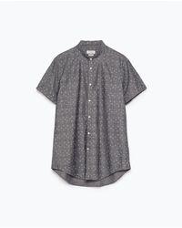 Zara Printed Shirt gray - Lyst