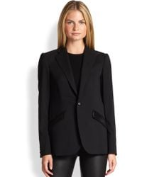 Ralph Lauren Black Label Leathertrimmed Eleanor Jacket - Lyst