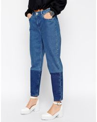 Asos White Tapered Colour Block Jeans - Lyst