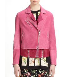 3.1 Phillip Lim Nubuck Leather Layered Biker Jacket - Lyst