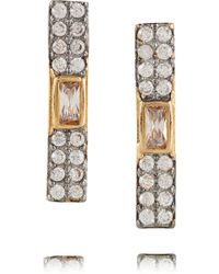 Kevia - Gold And Rhodium-plated Cubic Zirconia Earrings - Lyst