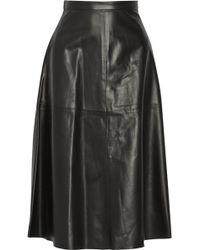 Valentino Leather Aline Midi Skirt - Lyst