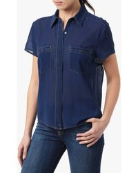 7 For All Mankind Two Pocket Blouse With Open Back - Lyst