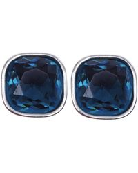 Anne Klein - Silvertone And Aqua Stone Stud Earrings - Lyst