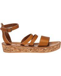 K. Jacques | Clairval Tan Leather Platform Sandal | Lyst