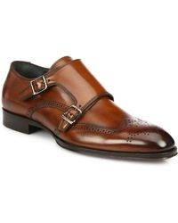 To Boot Burns Leather Double Monk-Strap Wingtips - Lyst