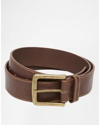 Asos Belt In Brown Faux Leather With Stitch Detail - Lyst