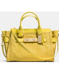 Coach Swagger In Python Embossed Leather - Lyst