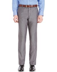 Calvin Klein Grey Herringbone Slim Fit Pants - Lyst