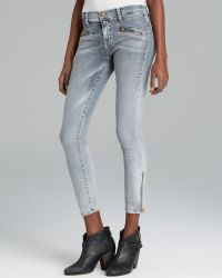 Current/Elliott Jeans The Soho Zip Stiletto in Bleach Out Navy - Lyst