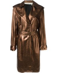 Lanvin Metallic Trench Coat - Lyst